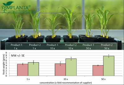Maize growth response to 2 products